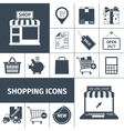 Shopping black white icons set vector image