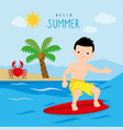 surfboard summer holiday trip boy cartoon vector image