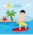 Surfboard summer holiday trip boy cartoon vector image