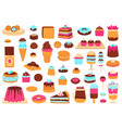sweet desserts bakery sweets muffin cakes ice vector image vector image