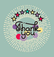 thank you lettering with stars on gray background vector image