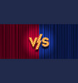 versus logo on red and blue curtain background vector image