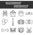 veterinary pharmacy icons set vector image vector image