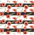 Watercolor poppy flowers pattern vector image