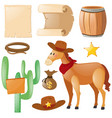 western theme with horse and cactus vector image