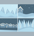 wintertime scenery set landscapes and cityscapes vector image vector image