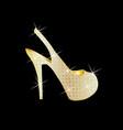women high heel golden shoes vector image