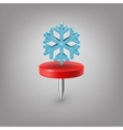 Red pin icon weather Snowflake vector image