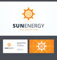 Sun energy logo and business card template vector image