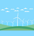 wind turbine on green fields in a flat style vector image