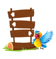 A parrot beside a signboard vector image vector image