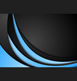 abstract contrast blue black wavy background vector image vector image