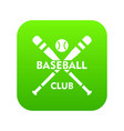 baseball club icon green vector image vector image