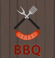 bbq icon with grill tools and sausage on wooden vector image