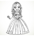 Beautiful princess in a dress with a rose in her vector image vector image