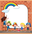 border template with kids drawing on brickwall vector image vector image