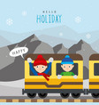boy train public railway mountain travel vector image vector image