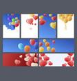 bright multicolored cartoon balloons banner vector image vector image