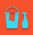 bucket and a rag with household chemical bottles vector image vector image