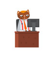 businessman cat sitting at the desk and working at vector image