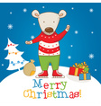 Cartoon character bear on the winter landscape vector image
