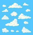 cartoon clouds set on a blue background vector image