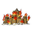 cartoon image of burning castle vector image vector image