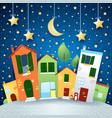 city road in cartoon style by night vector image