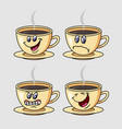 coffee cartoon character expression vector image vector image