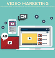 Concepts for video marketing advertising social vector image vector image