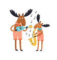 cute amusing elk family playing musical vector image vector image