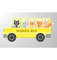 Cute animals in a bus vector image