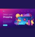 debit cardconcept landing page vector image vector image