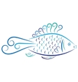 Doodle color abstract blue fish vector image