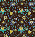 elegant seamless pattern with abstract flowers on vector image