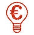 euro bulb icon grunge watermark vector image