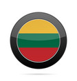 flag of lithuania shiny black round button vector image