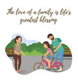 flat happy family spends weekend together vector image vector image