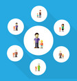 flat icon family set of mother son grandchild vector image vector image