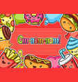 frame with cute kawaii fast food meal vector image