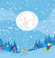 fun in the winter night vector image vector image