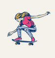 girl jumping on her skateboard in hand drawn style vector image vector image