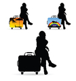 girl silhouette siting on travel bag set vector image vector image