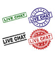 grunge textured live chat seal stamps vector image