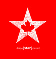 hand draw Canadian maple Leaf in Star vector image vector image