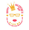 happy valentines day stamp overlay badge card vector image vector image