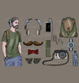 hipster man in headphones vector image vector image