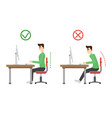 incorrect and correct spine sitting posture vector image