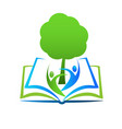learning wisdom book library logo vector image vector image