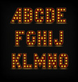 lightbulb alphabet font vector image vector image